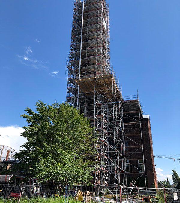Denkmalgerechte Sanierung des historischen Schornsteins – Theaterwerkstätten Bonn